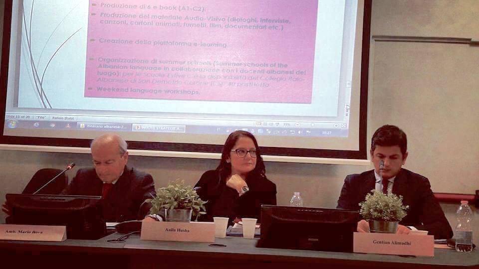 """Al convegno """"Itinerario Albanese: dall'emigrazione in Italia all'integrazione europea"""""""