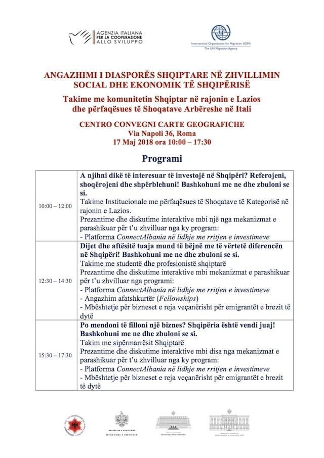 Programi i takimeve të 17 majit në Romë - Shtyp mbi imazh për ta lexuar