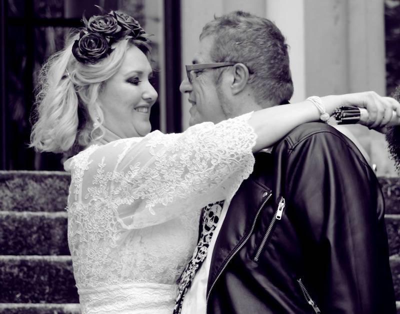 Dario Polvara con la moglie Sava il giorno del loro matrimonio