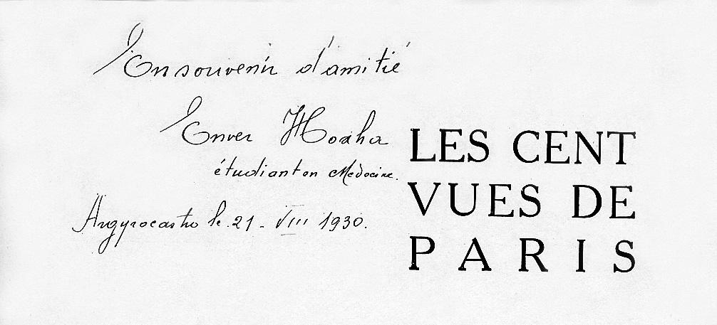 Dedikimi i Enver Hoxhës për Aurelian - 1930